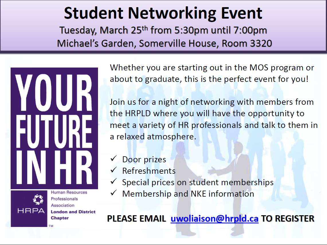 HRPA Student Networking Event on March 25