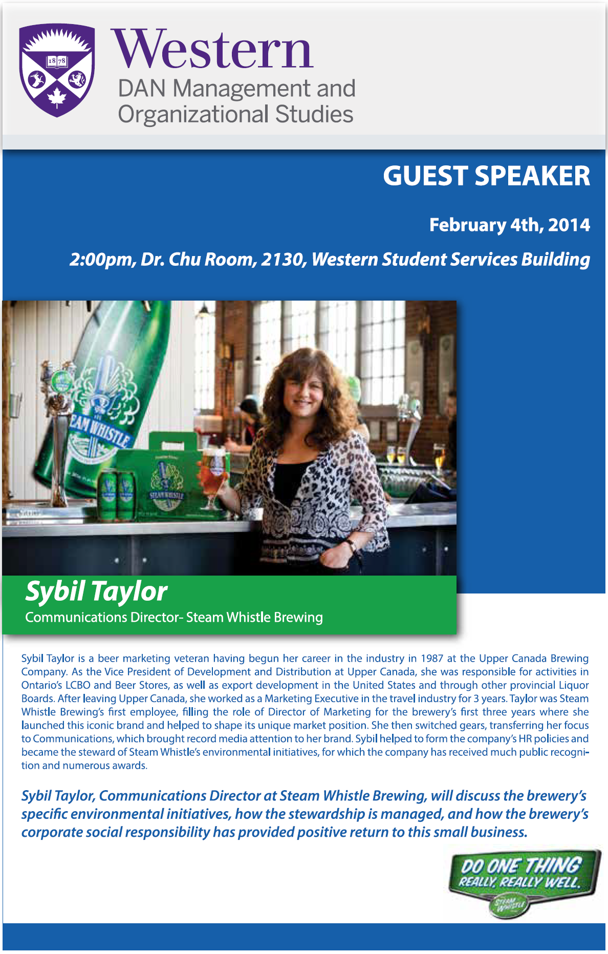 Steam Whistle Brewing Guest Speaker