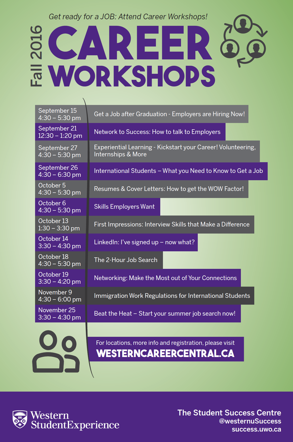 Fall Career Workshops at Career Central
