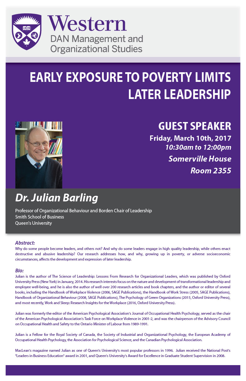 Julian Barling Guest Speaker Poster